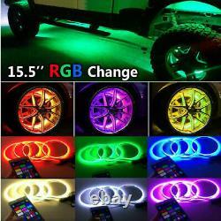4x 15.5 LED Wheel Ring Rim Lights RGB Color Changing Turn Signal IP68 Bluetooth