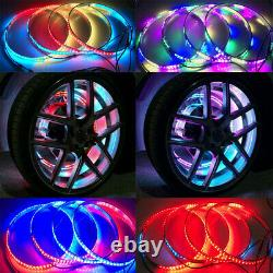 4x 15.5inch IP68RGB Color Changing Bluetooth illuminated LED Wheel Rings Lights