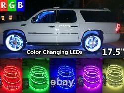 4x 17.5IP68 Bluetooth Ctrl RGB Color Changing illuminated LED Wheel Ring Lights