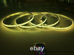 4x LED Wheel Ring Lights Double Row IP68 Pro RGB Color Change Bluetooth Control