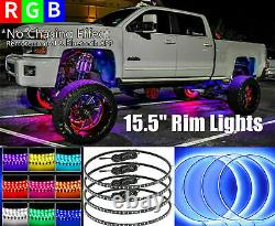 4x15.5 Adjustable RGB Color Changing Bluetooth LED Truck Car Wheel Rings Lights
