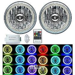 5-3/4 RF RGB SMD Color Change White Red Blue Green LED Halo Angel Eye Headlights