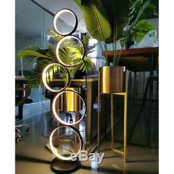 5-Circle Dimmable LED Floor Lamp Modern Round Unique Design Bedside Lighting 45W