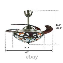 5 Style 42 Retractable Ceiling Fan Lamp LED Chandelier Color/Speed Change Remoe