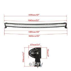 52 5D RGB LED Light Bar Curved + 4x 3'' Halo Pods Offroad Driving 4X4 4WD UTE