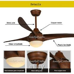 52'' Dimmable LED Ceiling Fan Chandelier Lamp with LED Light Remote Wood Grain