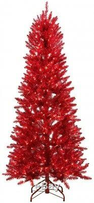 6 ft. Red Artificial Christmas Tree w Warm White & Red Color-Changing LEDs