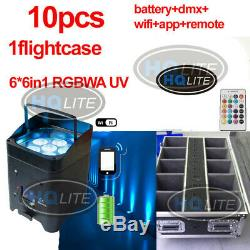 618W RGBWAUV Wireless IR Battery Power Wifi Led Par Light 10pcs dj smart light