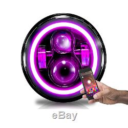 7 Inch Round LED Headlights Halo Wireless SmartPhone Color Changing Angel Eyes