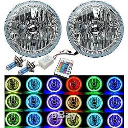7 RGB COB LED Multi-Color White Red Blue Green Halo Angel Eye Headlights Pair