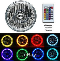 7 RGB SMD Multi-Color White Red Blue Green LED Halo Angel Eye Headlights Pair