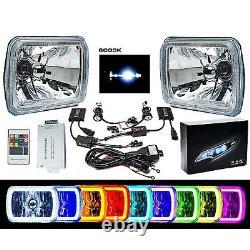 7X6 Color Change RGB SMD LED Halo Angel Eye Headlight 6000K HID Light Bulb Pair