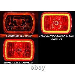 7X6 Color Change RGB SMD LED Halo Angel Eye Headlight Halogen Light Bulb Pair