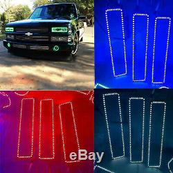 88-98 Chevy GMC Truck Color Changing LED RGB Lower Headlight Halo Ring BLUETOOTH