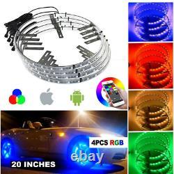 Bluetooth Control Bright RGB Color Change LED Wheel Light Kit For 20'' Rim