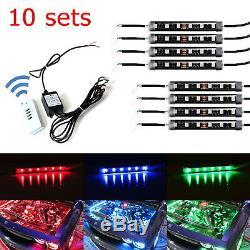 Bundle 10 Sets RGB Multi-Color LED Engine Bay or Under Car Lighting Kit withRemote