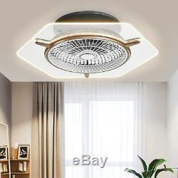 Ceiling Fan LED Transparent Light 3 Color Change Lamp Dimmable+Remote Control US