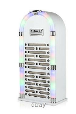 Colour Changing LED Light Bluetooth CD Jukebox with FM Radio Gloss White