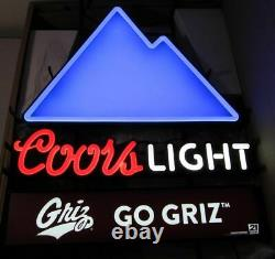 Coors Light Montana Grizzlies Go Griz Lighted Led Neon Style Color Changing Sign