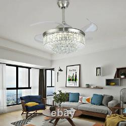 Crystal 42 Chandelier Ceiling Fan Light Retractable LED 3 Color Change WithRemote