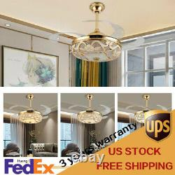 Crystal 42 Chandelier Ceiling Fan Light Retractable LED Dimmable Remote Gold US
