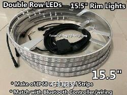 Double Row 4x 15.5 LED Wheel Rings Lights RGB Color Change Bluetooth Controlled