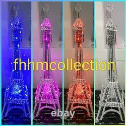 Eiffel Tower Aluminium Sparkly Diamante Silver Table Standing LED Lamp Home 90cm