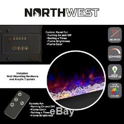 Electric NO HEAT Fireplace Color Changing LED Flames Wall Mount Remote 54 Inch