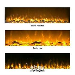 Electric No Heat White Fireplace Color Changing LED Wall Mount Remote 50 Inch