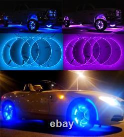 FIA IP68 15.5 Wheel Rims Lights RGB Color Change Strobe Rings Bluetooth Control