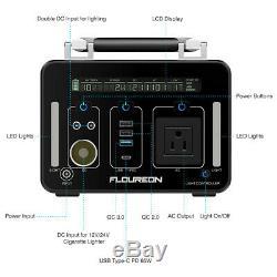 FLOUREON Portable 500Wh Solar Power Inverter Generator Supply Energy Storage US