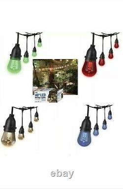 Feit 48ft 24 LED RGB Outdoor Weatherproof Color Changing String Light Set Remote