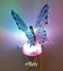 Fiber Optic Butterfly Night Light LED Color Changing Lamp Pink