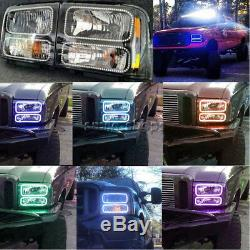 For 05-07 Ford F-250 Multi-Color Changing LED RGB SMD Halo Lower Headlight Rings