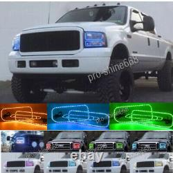 For 05-07 Ford F-250 Multi-Color Changing Shift LED RGB Headlight Halo Ring Set