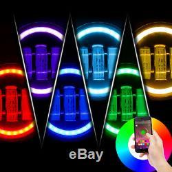 For Jeep Wrangler Bluetooth RGB Halo 90W LED 7 Headlights Fog Light Combo Kit