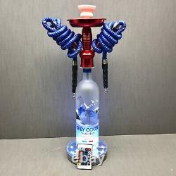 Grey Goose Vodka 1L 2 Hose Bottle Hookah with Color Changing LED Stand and Remote