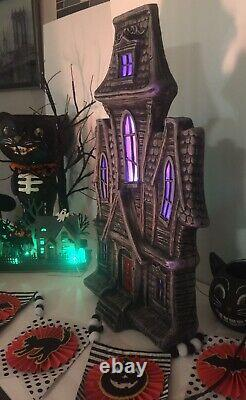 Halloween Blow Mold Style Haunted House Color Changing LED Lights & Sounds 24 H