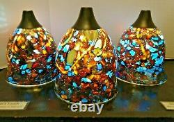 Handmade Color-Changing 3-Glass Pendant Light Set RED CORAL SEA