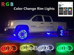 IP68 15.5 Bluetooth RGB Color-change LED Car Truck Wheel Rings Lights x4pcs Set