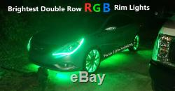 IP68 Double Row Blue-tooth 15.5 RGB Color Changing LED Wheel Lights 4PCS SET
