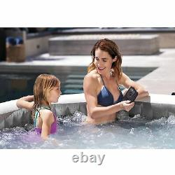 Intex Greywood Deluxe 4 Person Inflatable Portable Hot Tub Spa w LED Light, Gray