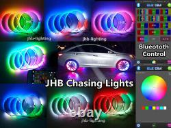 JHB 15.5 IP68 Bluetooth Color Change & Chasing LED Wheel Rings Lights x4PCS SET
