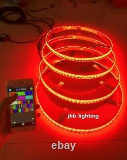 JHB 15.5 RGB Color-Shifting LED Truck Wheel Rings Lights with Bluetooth Control