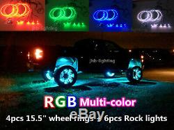 JHB 4pcs 15.5 RGB Color Changing LED Wheel Lights + 6pcs RGB Rock Lights Kit