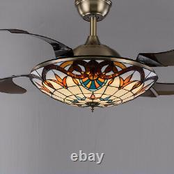 LED Ceiling Fan Light Chandelier Lamp Retractable Blade 3 color change light