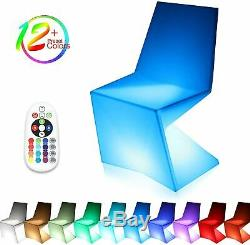 LED Change Color Dining Chair Seat Lounge Pub Party Outdoor Waterproof Over-Size