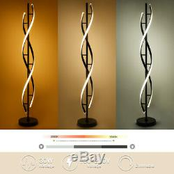 LED Floor Lamp Remote Control Black Spiral Dimmable Energy Saving Living Room