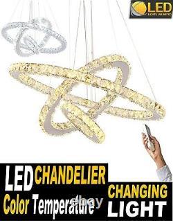 LED Modern Crystal Chandelier 3 rings Pendant Ceiling Lighting Fixture 64W