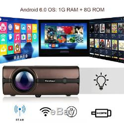 LED Projector Smart Home Theater Android 6.0 1080P HD Video Movie Multimedia US